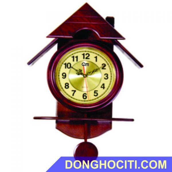 Đồng hồ treo tường ngôi nhà chất liệu gỗ cao su